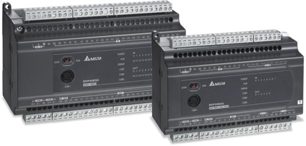 产品功能:整合的通讯功能,内建1组RS-232,2组RS-485通讯端口,均支持MODBUS主/从站模式;新推出DVP32ES2-C:CANopen1Mbps通讯型主机,以及DVP30EX2:模拟/温度混合型主机;DVP-ES2提供16/20/24/32/40/60点I/O主机,满足各种应用;DVP20EX2内置12-bit4AI/2AO,同时可搭配14-bitAIO扩展模块,配合内建PIDAutoTuning功能,提供完整的模拟控制解决方案;DVP30EX2提供模拟/温控整合型控制器,内置16-bit3